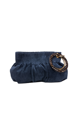 Blue Suede Ring Hand Bag -0