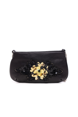Black Beaded Clutch Bag-0