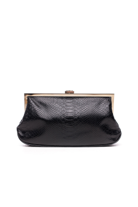 Black Snakeskin Clutch -0