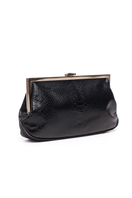 Black Snakeskin Clutch -2