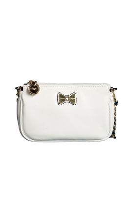 White Leather Purse with Bow-0