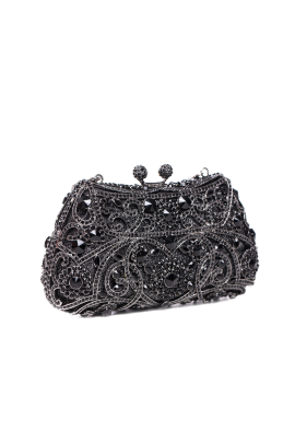 Black Crystal Glamour Clutch -0