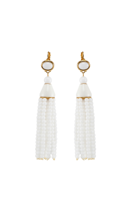 White Tassel Earrings-0