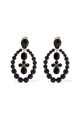Black Crystal Clip Earrings / VILNIUS-0