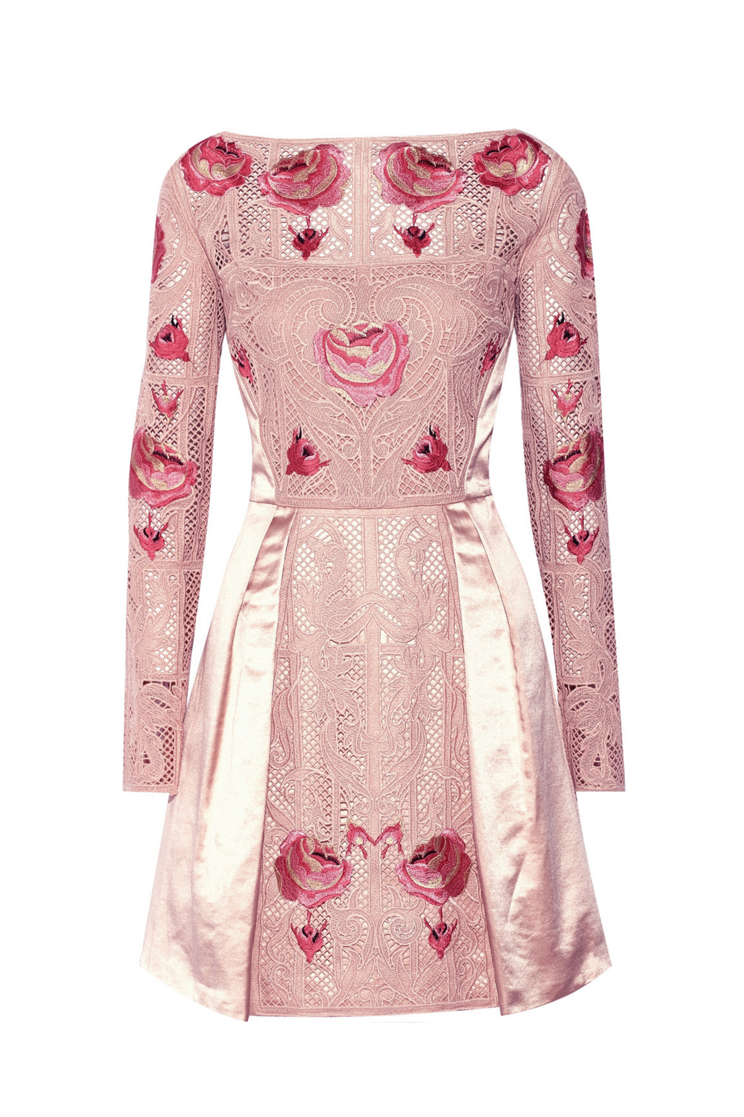 Embroidered Beige Silk Dress