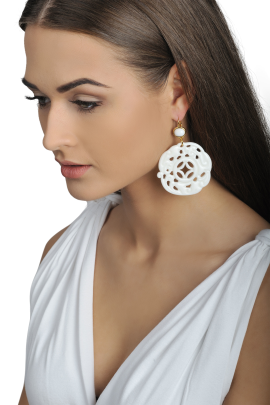 White Carved Earrings-1