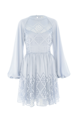 Pale Blue Azure Sleeved Dress-3