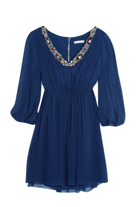 Navy Silk Georgette Dress-0