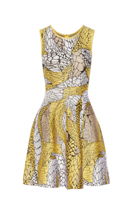 Printed Yellow Jaquard Dress-0