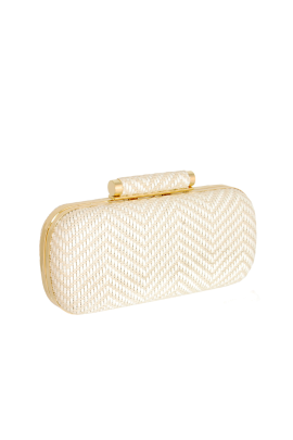 Ivory Woven Clutch -0
