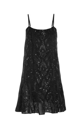 Ebony Sequined Crepe Dress-0