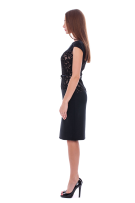 Black Elegant Neoprene Dress-1