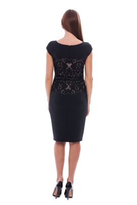 Black Elegant Neoprene Dress -2