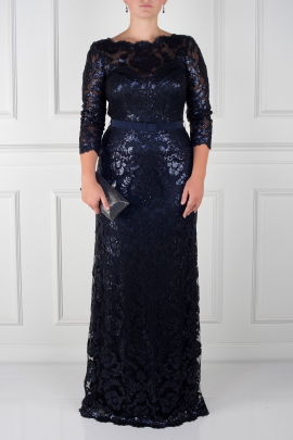 Navy Sleeved Sequin Gown-0