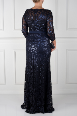 Navy Sleeved Sequin Gown-1