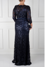 Navy Sleeved Sequin Gown