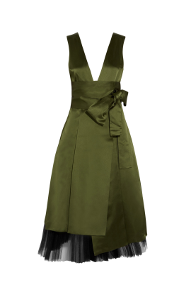 Army Green Satin Dress-0
