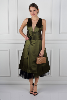 Army Green Satin Dress-1