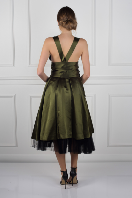 Army Green Satin Dress-2