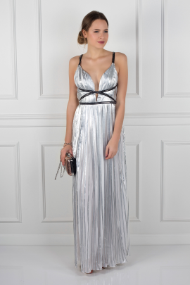 Silver Metallic Pleated Dress-0