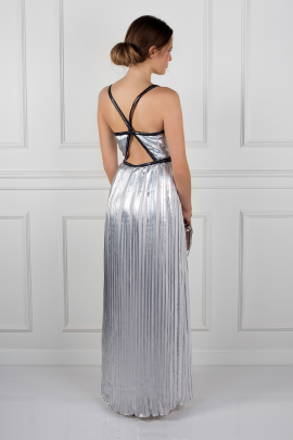 Silver Metallic Pleated Dress-1