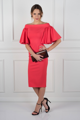 Coral Off Shoulder Dress -1