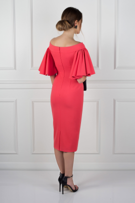 Coral Off Shoulder Dress-2