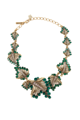 Gold & Crystal Leaf Necklace-0