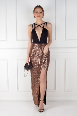 Cross Strap Sequin Dress -0