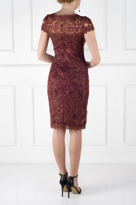 Mocha Embroidered Dress-1