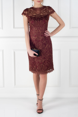 Mocha Embroidered Dress -0