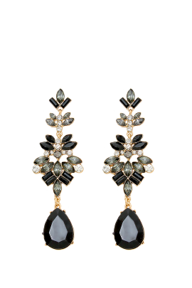 Black Statement Leaf Earrings-0