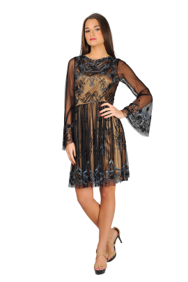Black And Nude Charm Dress-0