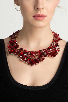 Red Leaf Evening Necklace-0