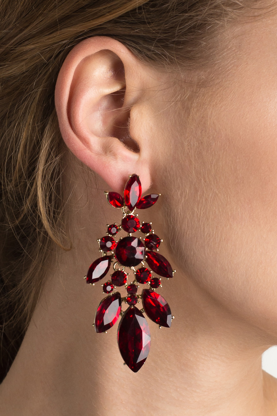 Red Leaf Evening Earrings
