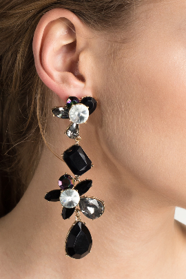 Black Statement Teardrop Earrings-1
