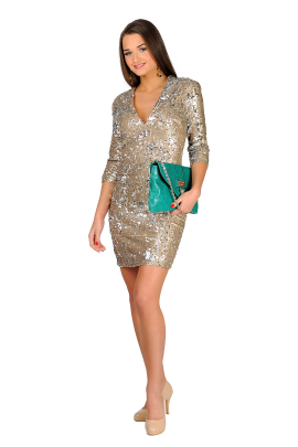 Nude Sequin Bodycon -0