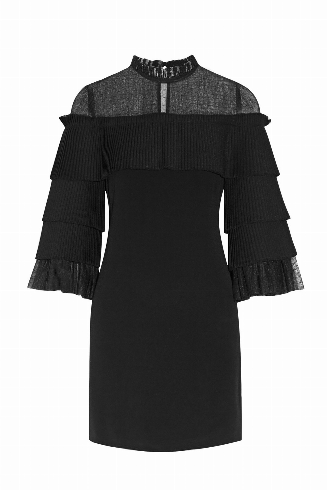 Black Pierre Tulle Pleated Dress