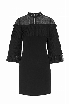 Black Pierre Tulle Pleated Dress-0