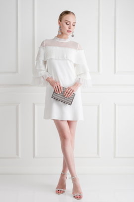 White Pierre Tulle Pleated Dress-2