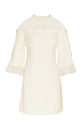 White Pierre Tulle Pleated Dress-0