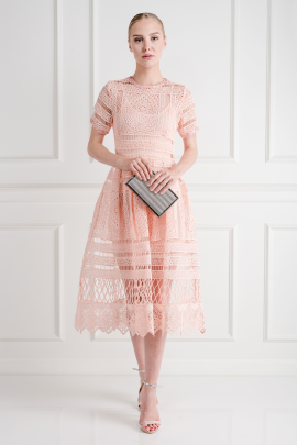 * Alanna Peach Lace Dress-2