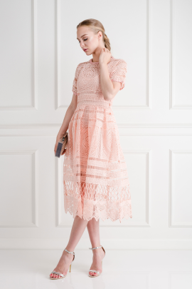 Alanna Peach Lace Dress-0