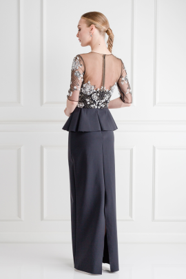 Tulle Embelished Peplum Gown / VILNIUS-3