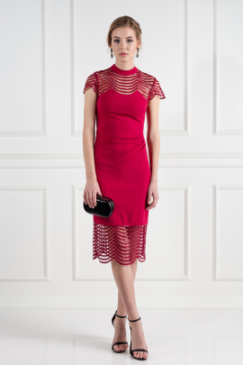Red Lace Shift Dress / VILNIUS-0