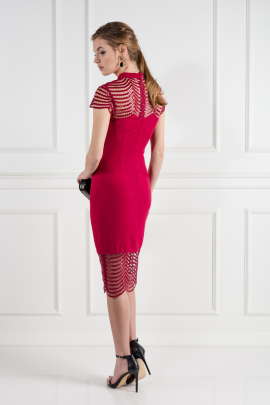 Red Lace Shift Dress -2