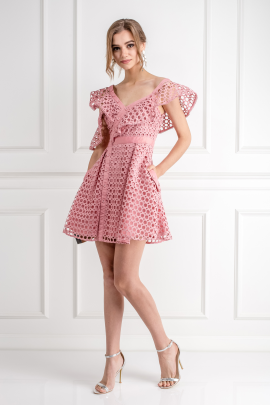 Pink Frill Mini Dress/VILNIUS-2