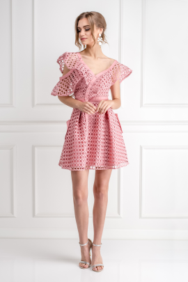 Pink Frill Mini Dress/VILNIUS-1
