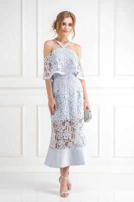 Soft Blue Cutwork Lace Dress -0