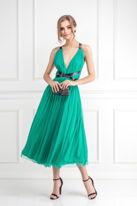 Emerald Green Tulle Dress -0